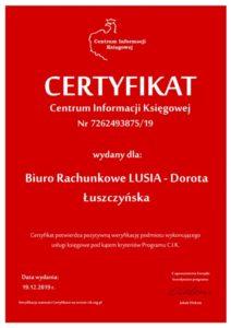 certyfikat centrum informacji księgowej