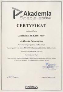 dyplom księgowej specjalista ds. kadr i płac dorota łuszczyńska
